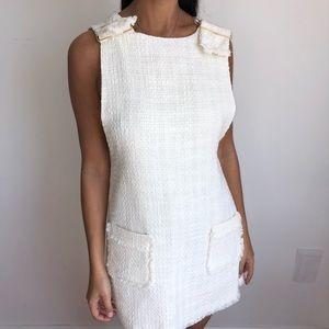 NWOT Zara white tweed shift pinafore dress S